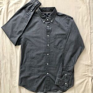 Uniqlo Grey Long sleeve Cotton Button Down Large